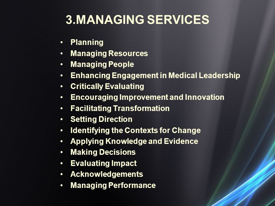 3.MANAGING SERVICES Planning Managing Resources Managing People