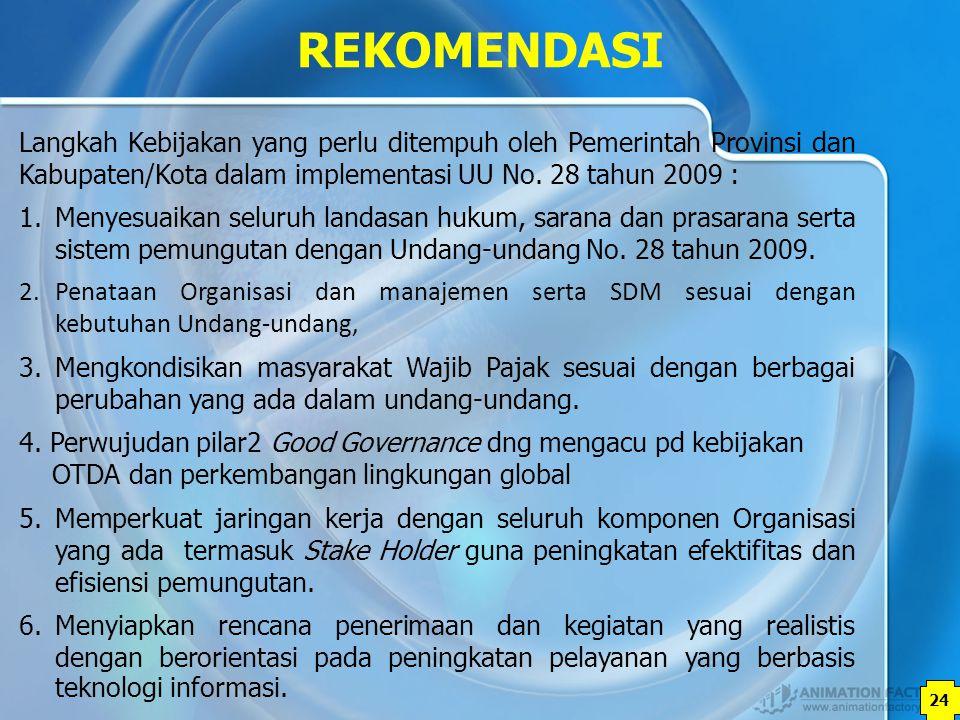 REKOMENDASI Langkah Kebijakan yang perlu ditempuh oleh Pemerintah Provinsi dan Kabupaten/Kota dalam implementasi UU No. 28 tahun 2009 :