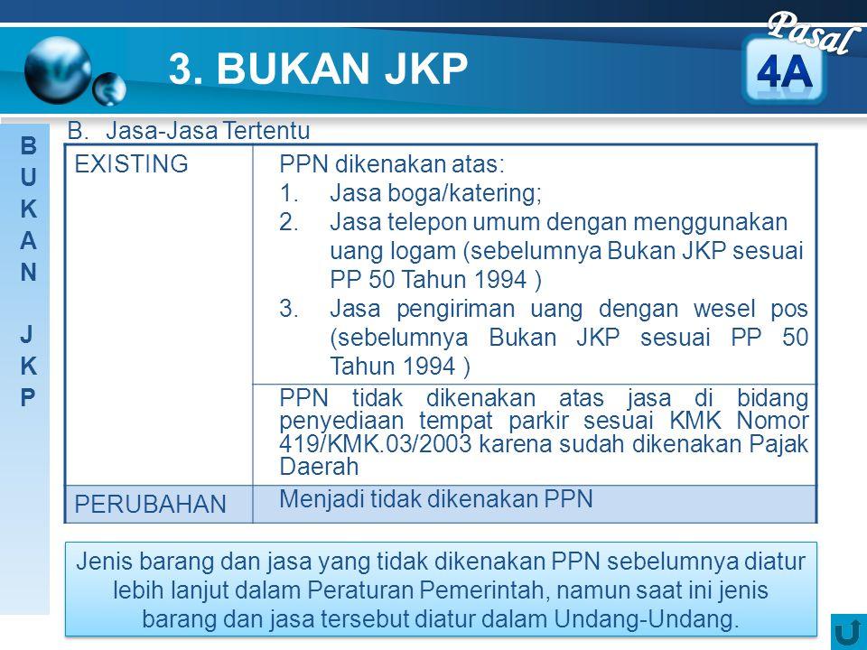 Pasal 3. BUKAN JKP 4A B. Jasa-Jasa Tertentu BUKAN JKP EXISTING