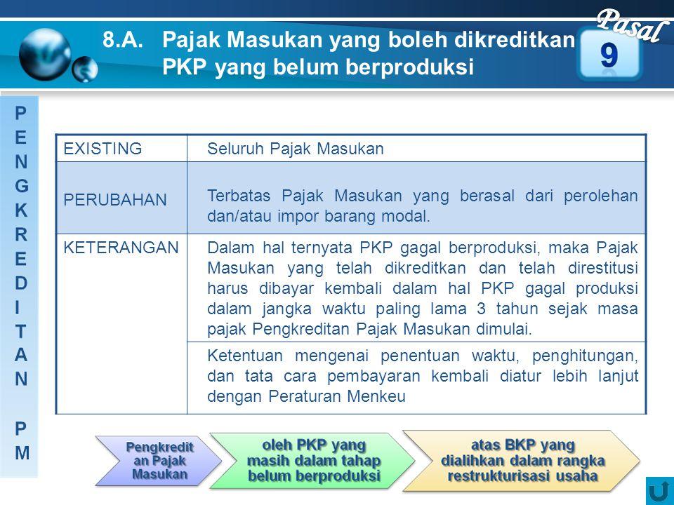 Pasal 8.A. Pajak Masukan yang boleh dikreditkan oleh PKP yang belum berproduksi. EXISTING. Seluruh Pajak Masukan.
