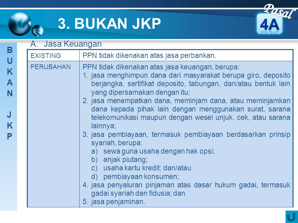Pasal 3. BUKAN JKP 4A A. Jasa Keuangan BUKAN JKP