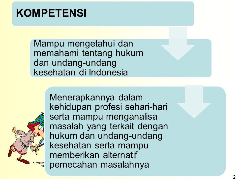 KOMPETENSI Mampu mengetahui dan memahami tentang hukum dan undang-undang kesehatan di Indonesia.