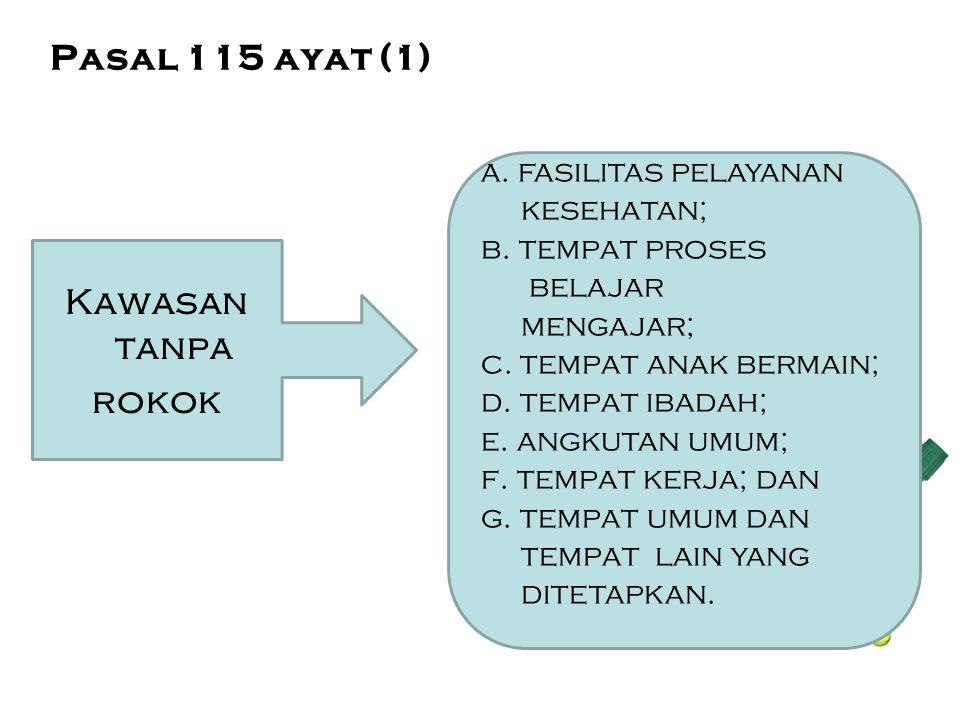 Pasal 115 ayat (1) Kawasan tanpa rokok a. fasilitas pelayanan