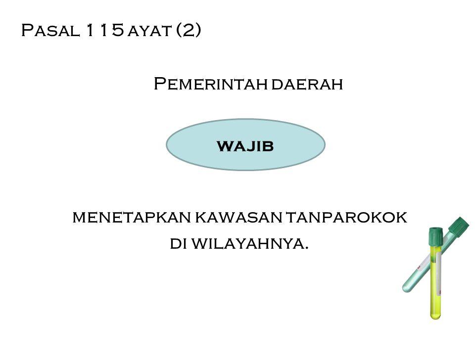 Pasal 115 ayat (2) Pemerintah daerah menetapkan kawasan tanparokok di wilayahnya.