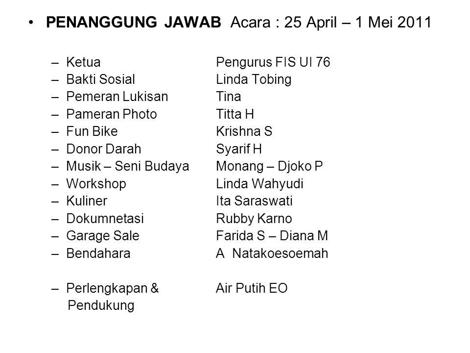 PENANGGUNG JAWAB Acara : 25 April – 1 Mei 2011