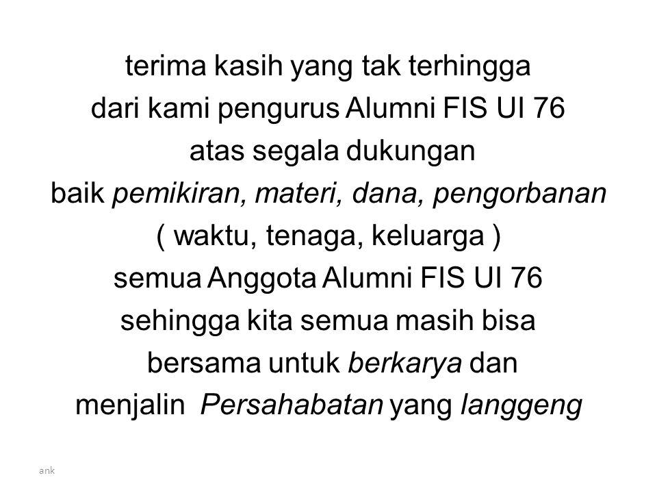 terima kasih yang tak terhingga dari kami pengurus Alumni FIS UI 76