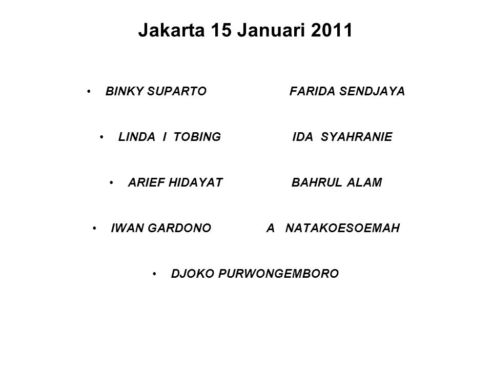 Jakarta 15 Januari 2011 BINKY SUPARTO FARIDA SENDJAYA