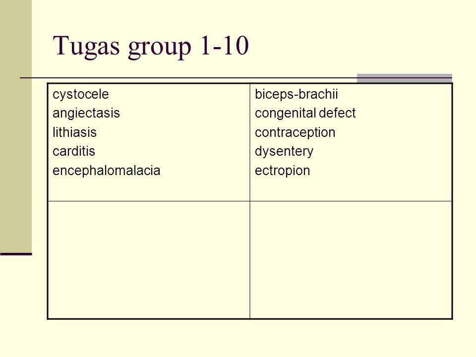 Tugas group 1-10 cystocele angiectasis lithiasis carditis