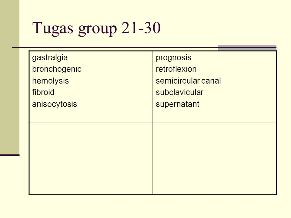 Tugas group 21-30 gastralgia bronchogenic hemolysis fibroid