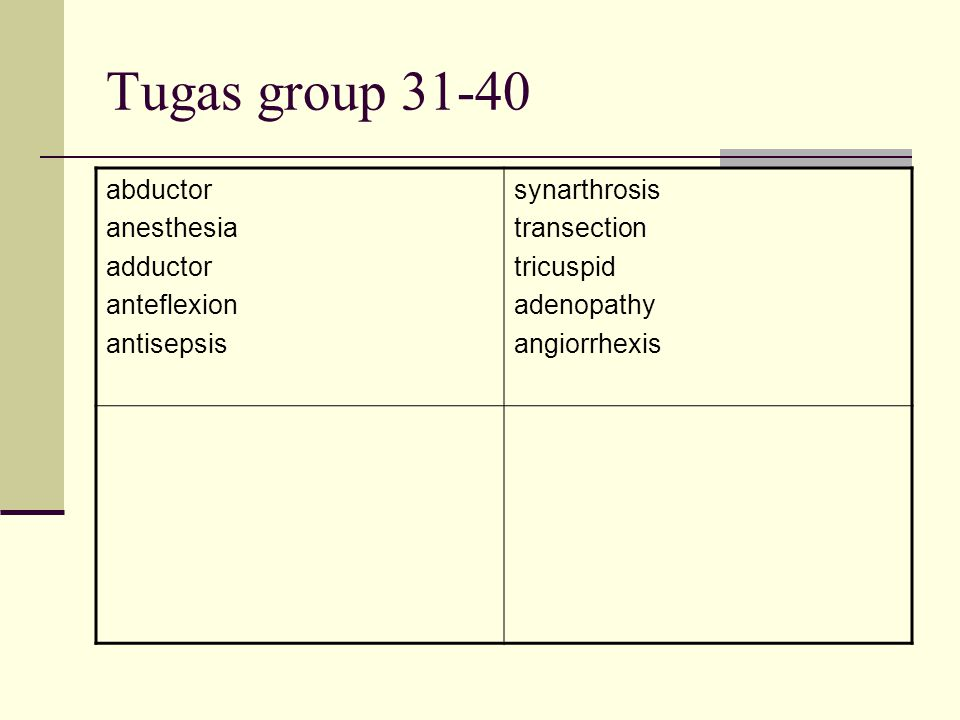 Tugas group 31-40 abductor anesthesia adductor anteflexion antisepsis