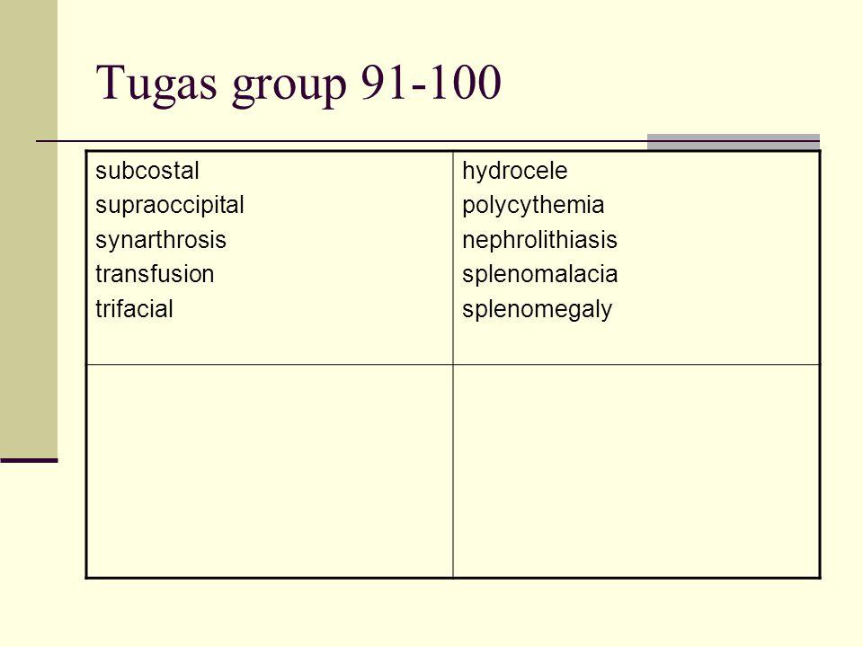 Tugas group 91-100 subcostal supraoccipital synarthrosis transfusion