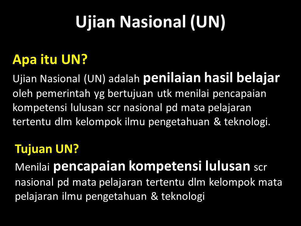 Ujian Nasional (UN) Apa itu UN Tujuan UN