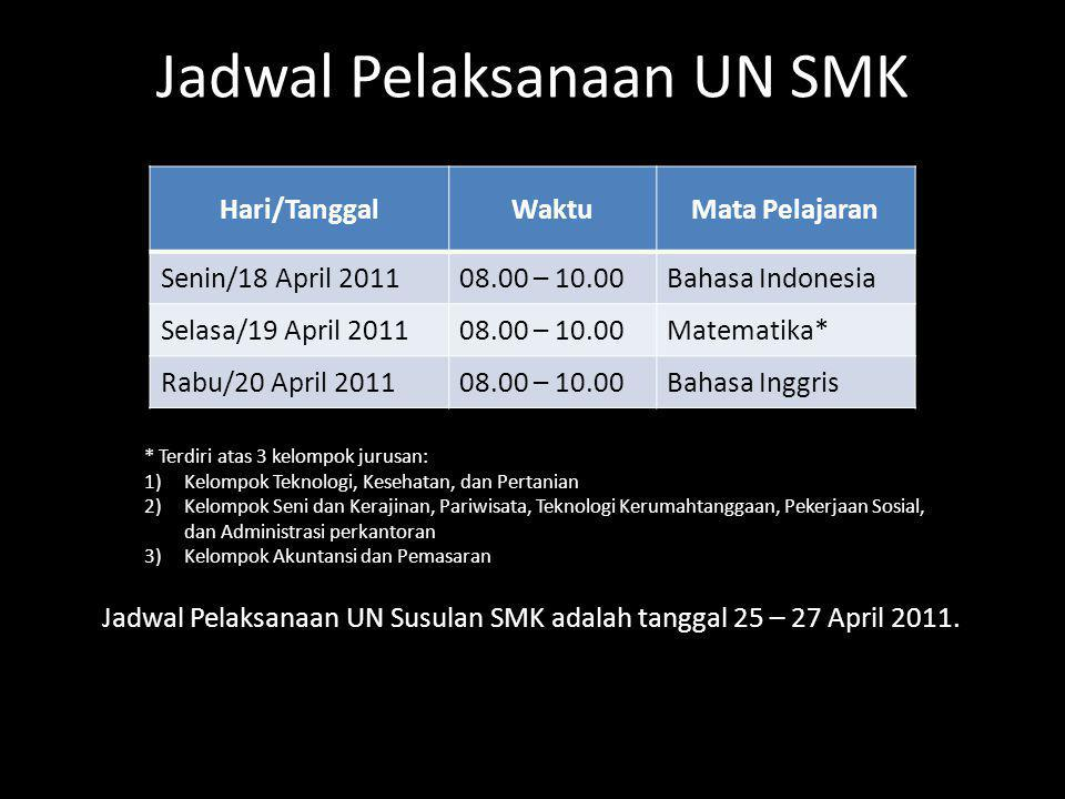 Jadwal Pelaksanaan UN SMK