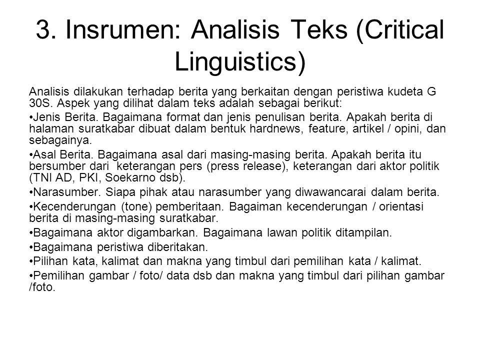3. Insrumen: Analisis Teks (Critical Linguistics)