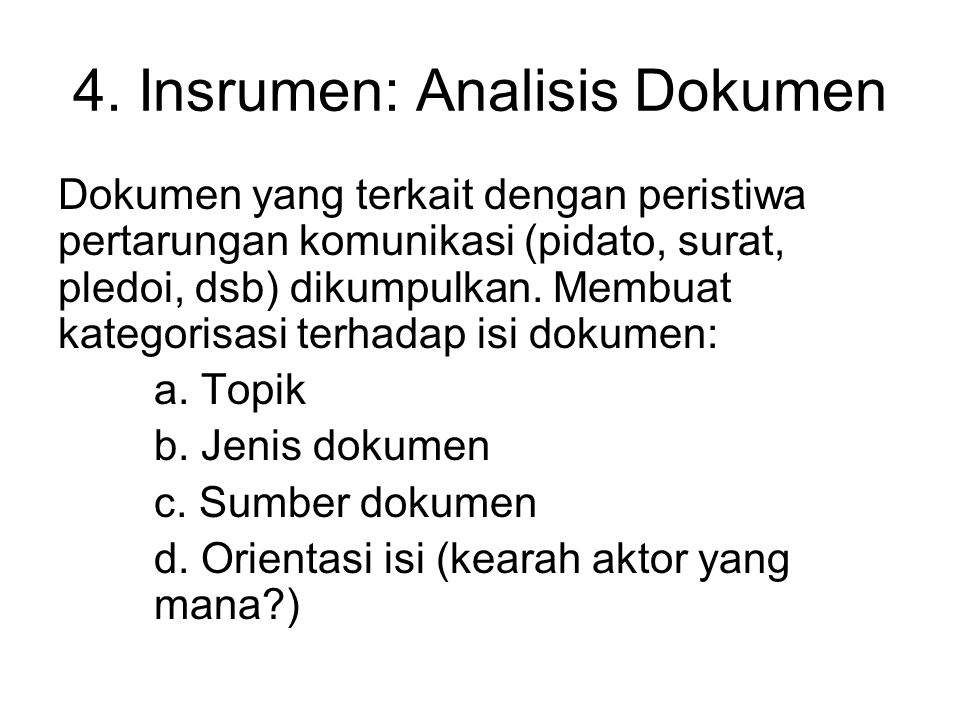 4. Insrumen: Analisis Dokumen