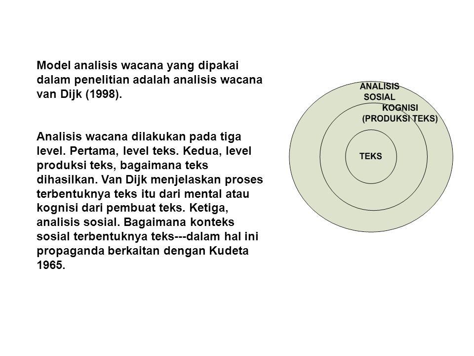 Model analisis wacana yang dipakai dalam penelitian adalah analisis wacana van Dijk (1998).