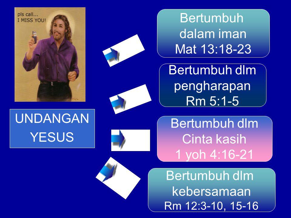 Bertumbuh dalam iman Mat 13:18-23 Bertumbuh dlm pengharapan Rm 5:1-5