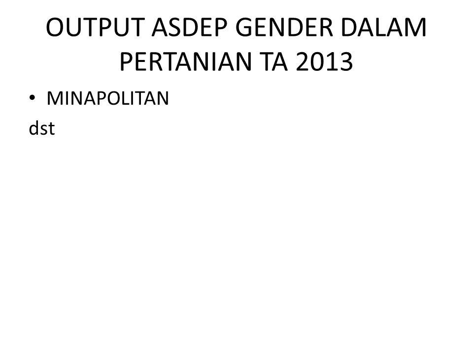 OUTPUT ASDEP GENDER DALAM PERTANIAN TA 2013