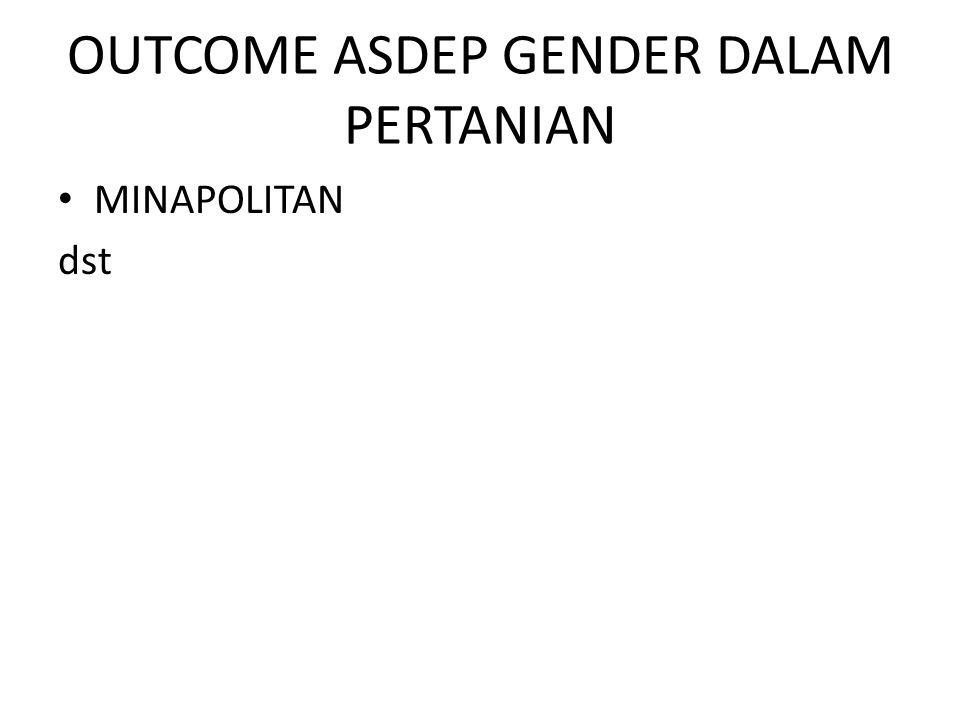 OUTCOME ASDEP GENDER DALAM PERTANIAN