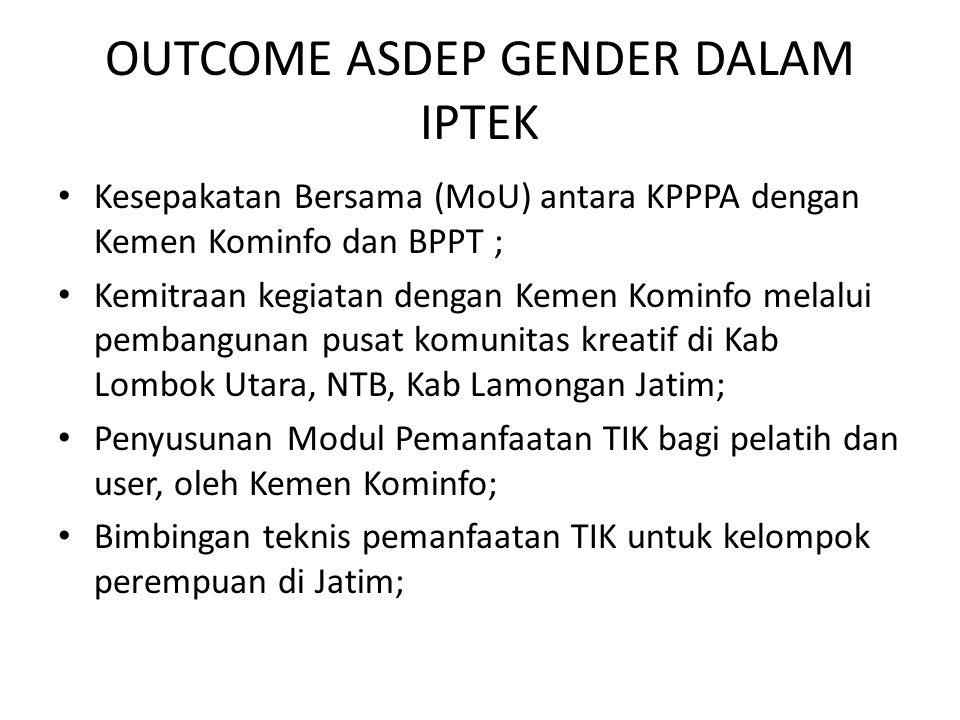 OUTCOME ASDEP GENDER DALAM IPTEK