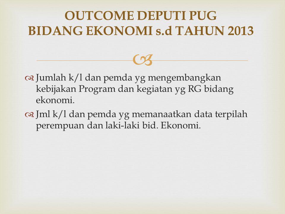 OUTCOME DEPUTI PUG BIDANG EKONOMI s.d TAHUN 2013