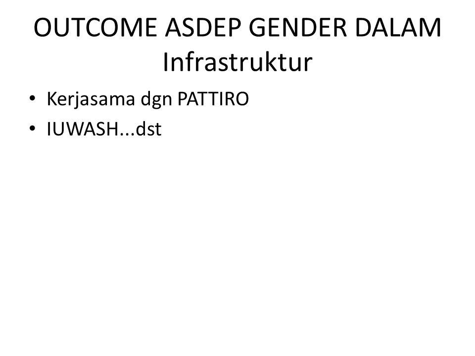 OUTCOME ASDEP GENDER DALAM Infrastruktur