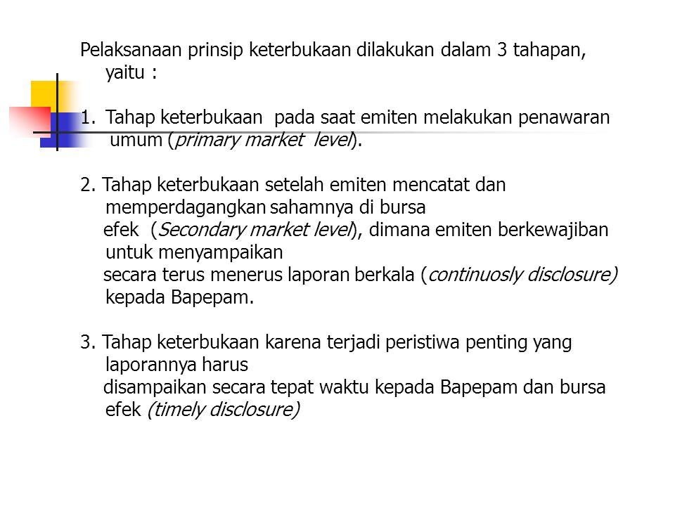 Pelaksanaan prinsip keterbukaan dilakukan dalam 3 tahapan, yaitu :