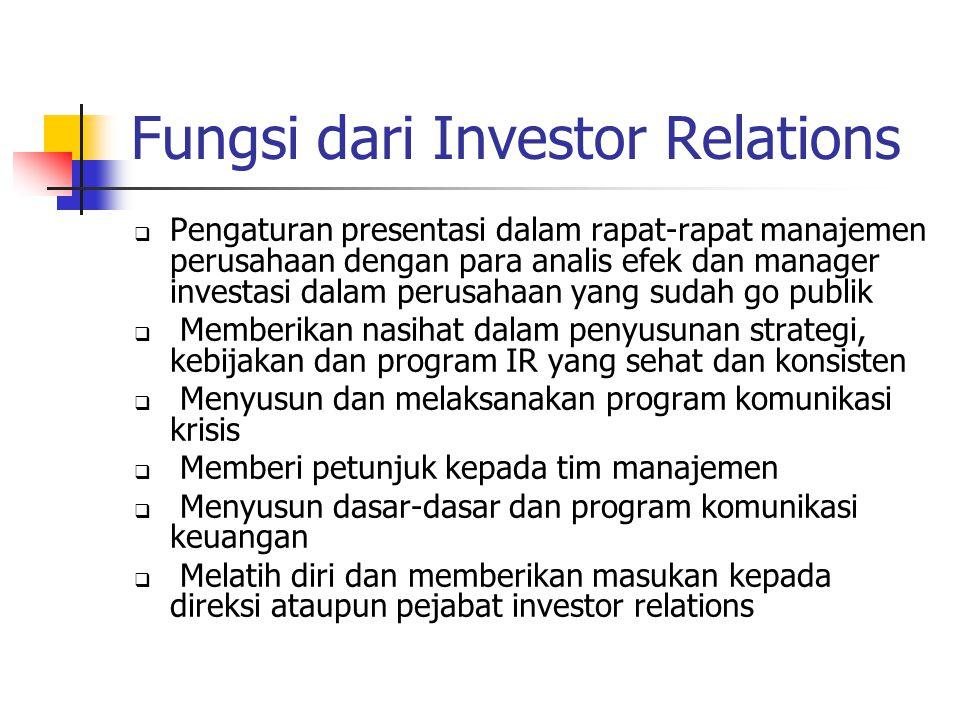 Fungsi dari Investor Relations