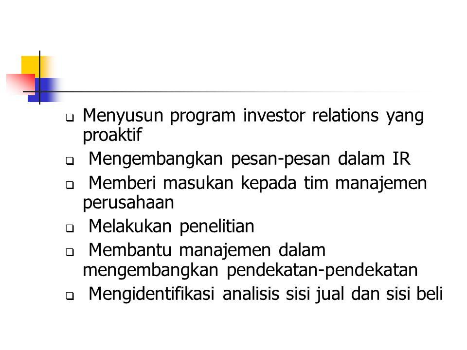 Menyusun program investor relations yang proaktif
