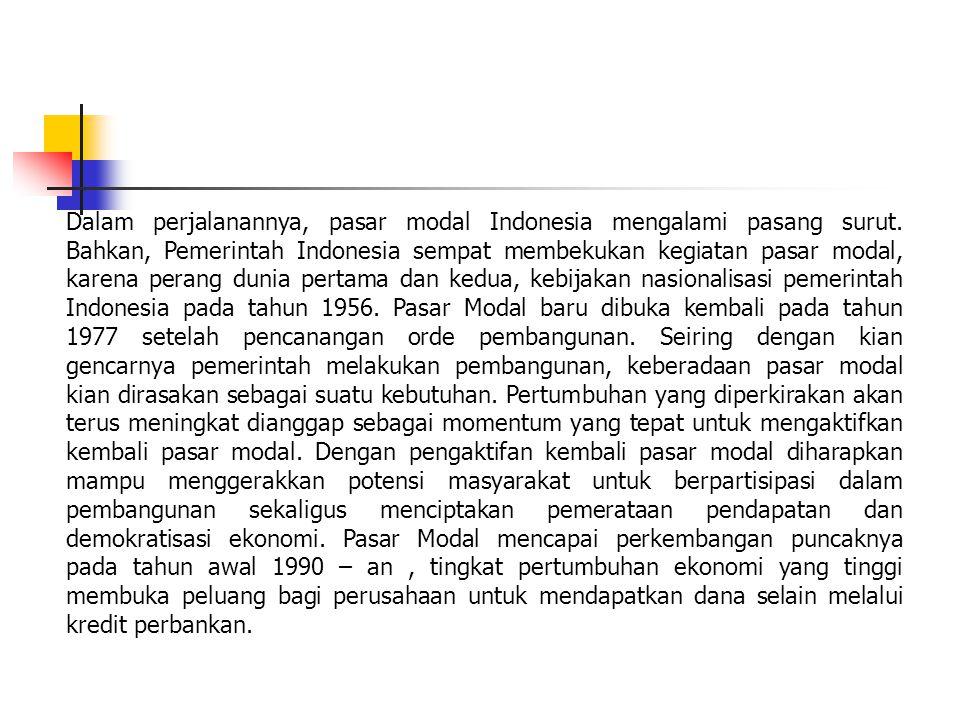 Dalam perjalanannya, pasar modal Indonesia mengalami pasang surut