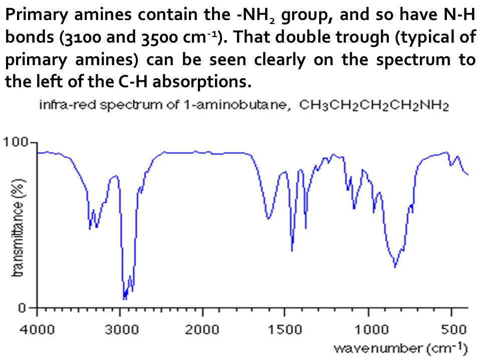 Primary amines contain the -NH2 group, and so have N-H bonds (3100 and 3500 cm-1).
