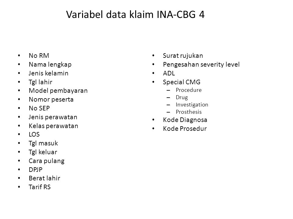Variabel data klaim INA-CBG 4