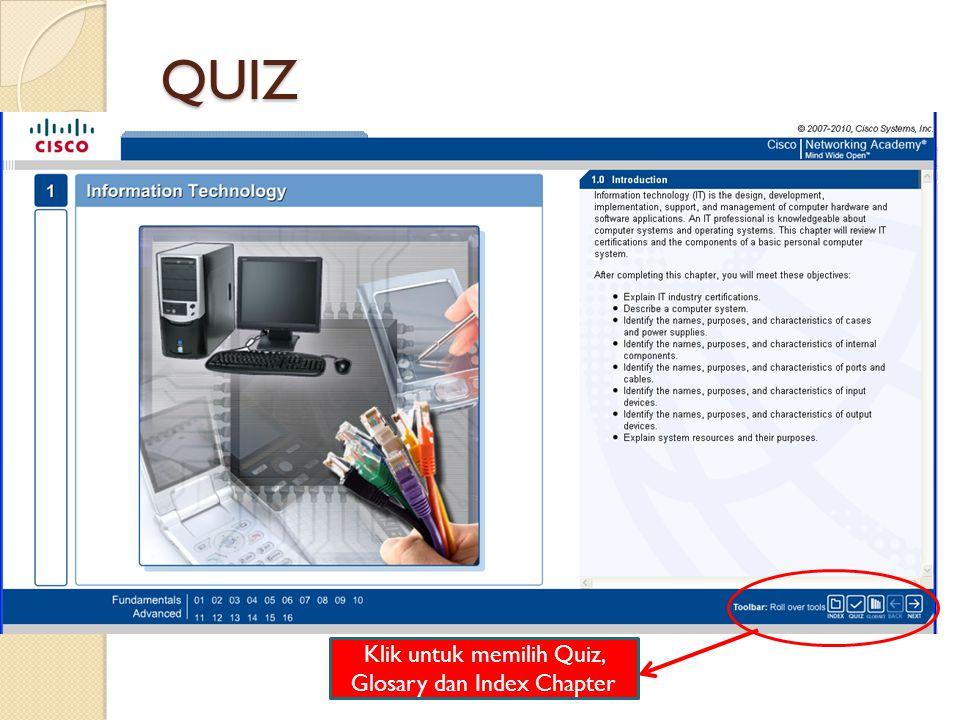Klik untuk memilih Quiz, Glosary dan Index Chapter