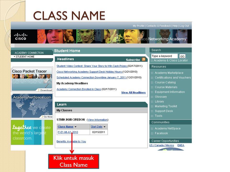 Klik untuk masuk Class Name
