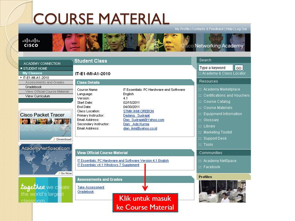 Klik untuk masuk ke Course Material