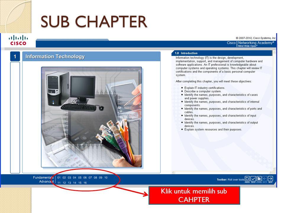 Klik untuk memilih sub CAHPTER