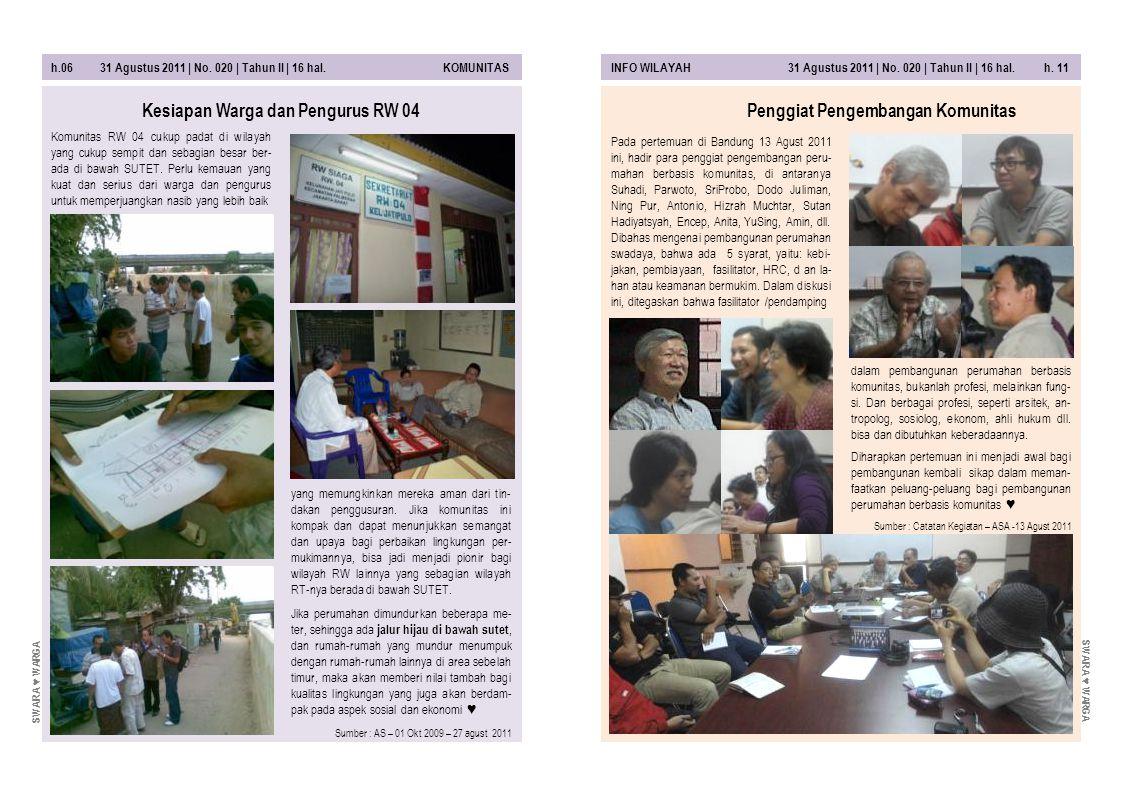 Kesiapan Warga dan Pengurus RW 04 Penggiat Pengembangan Komunitas