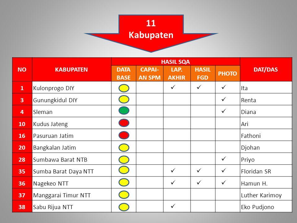 11 Kabupaten NO KABUPATEN HASIL SQA DAT/DAS DATA BASE CAPAI- AN SPM