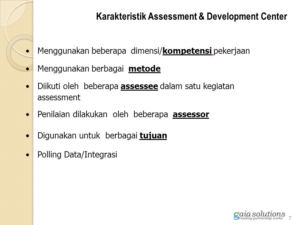 Karakteristik Assessment & Development Center