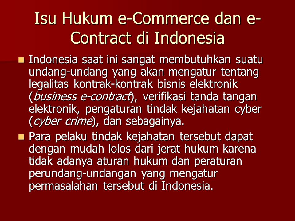Isu Hukum e-Commerce dan e-Contract di Indonesia