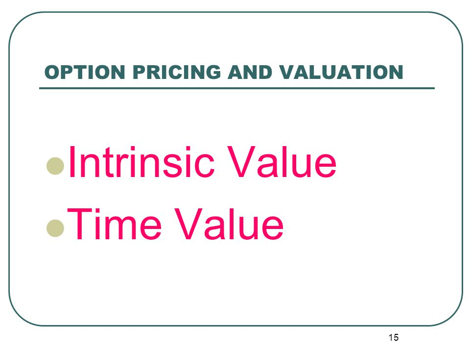OPTION PRICING AND VALUATION