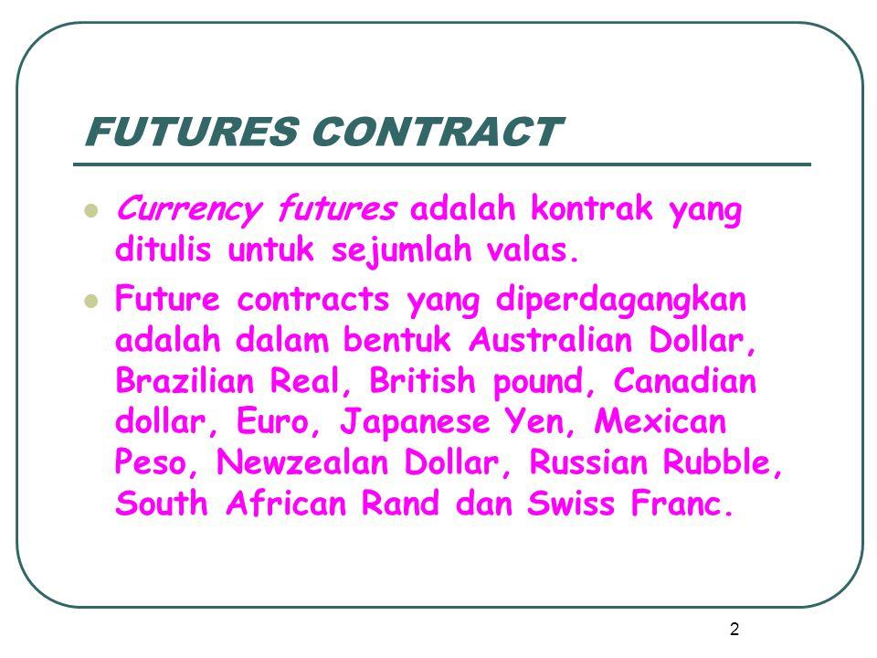 FUTURES CONTRACT Currency futures adalah kontrak yang ditulis untuk sejumlah valas.