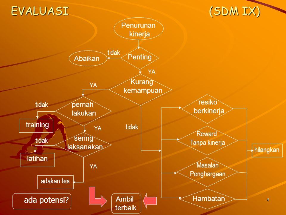 EVALUASI (SDM IX) ada potensi Penurunan kinerja tidak Abaikan Penting
