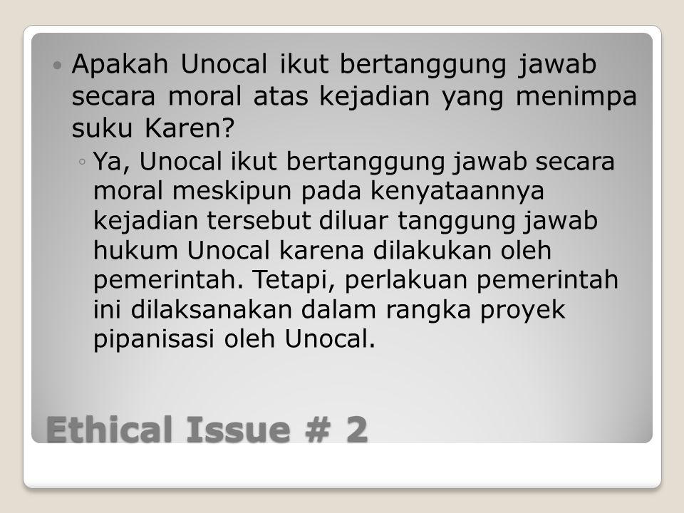 Apakah Unocal ikut bertanggung jawab secara moral atas kejadian yang menimpa suku Karen