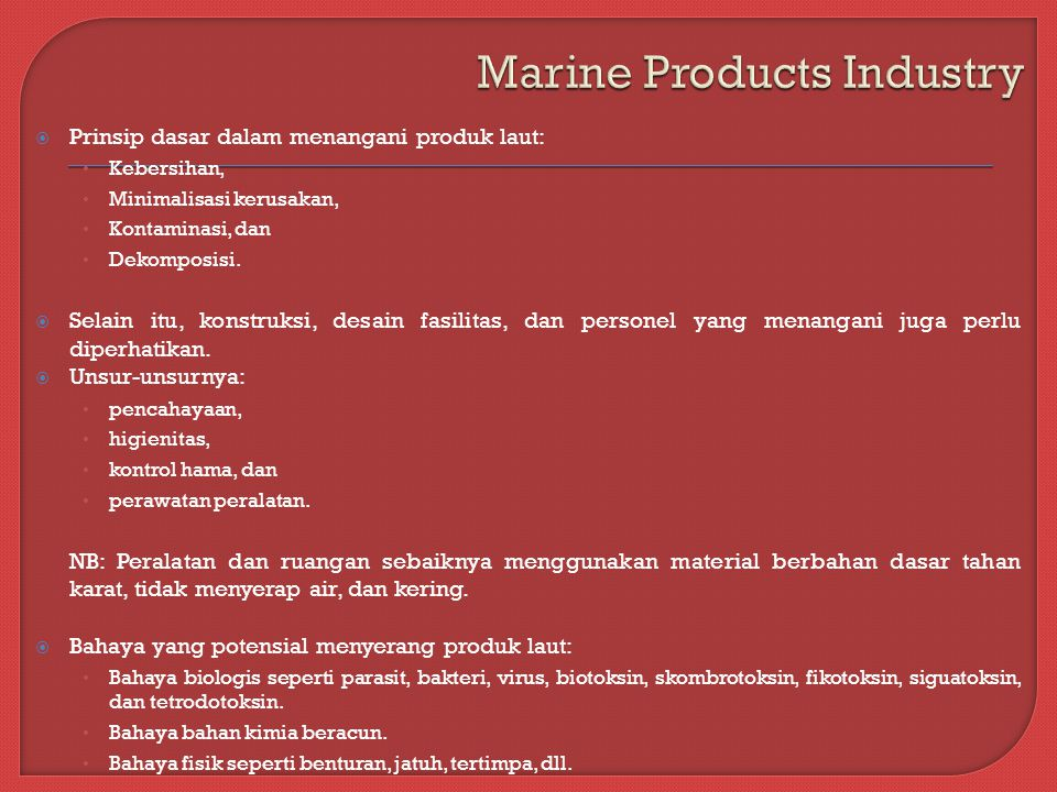 Marine Products Industry