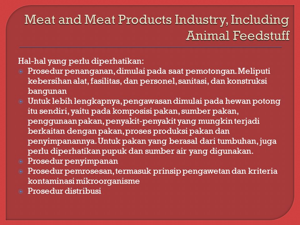 Meat and Meat Products Industry, Including Animal Feedstuff