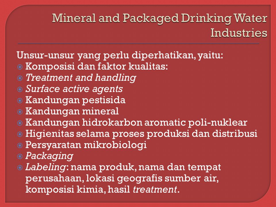 Mineral and Packaged Drinking Water Industries