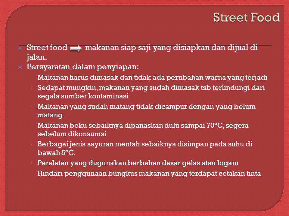 Street Food Street food makanan siap saji yang disiapkan dan dijual di jalan. Persyaratan dalam penyiapan: