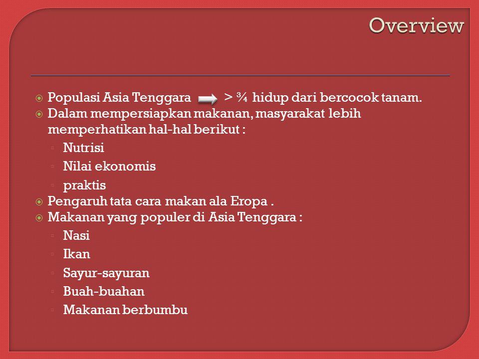 Overview Populasi Asia Tenggara > ¾ hidup dari bercocok tanam.