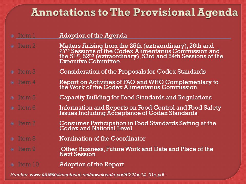 Annotations to The Provisional Agenda
